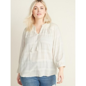 Relaxed Plus-Size Split-Neck Textured Boho Top