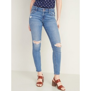 Low-Rise Distressed Rockstar Super Skinny Jeans for Women