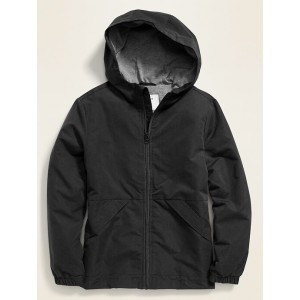 Water-Resistant Hooded Zip Rain Jacket for Boys