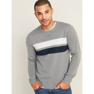 Textured Color-Block Chest-Stripe Sweater for Men