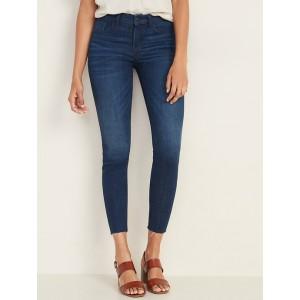 Mid-Rise Frayed-Hem Rockstar Super Skinny Ankle Jeans for Women