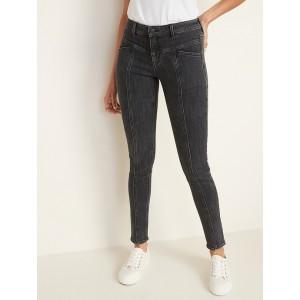 Mid-Rise Rockstar Seamed Super Skinny Jeans for Women