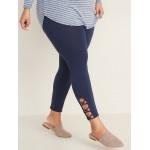High-Waisted Lattice-Hem Plus-Size Leggings