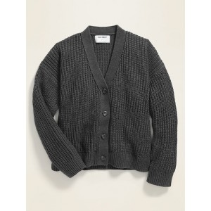Slouchy Shaker-Stitch Button-Front Cardigan for Girls