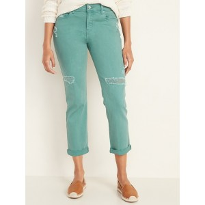 Mid-Rise Distressed Pop-Color Boyfriend Straight Jeans for Women