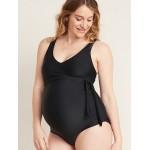 Maternity V-Neck Wrap-Front Swimsuit