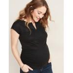 Maternity Linen-Blend Crochet-Lace Trim Top