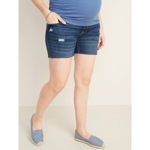Maternity Front-Low Panel Distressed Boyfriend Cut-Off Jean Shorts  5-inch inseam