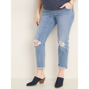 Maternity Full-Panel Distressed Boyfriend Straight Jeans