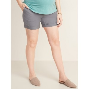 Maternity Full-Panel Twill Shorts - 5-inch inseam