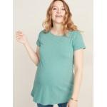 Maternity Boat-Neck Slub-Knit Tunic Tee