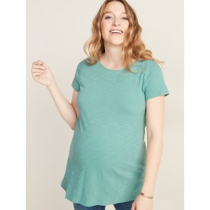 Maternity Boat-Neck Slub-Knit Tunic Tee
