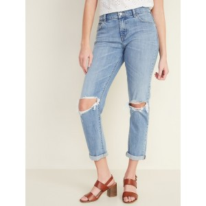 Mid-Rise Distressed Boyfriend Straight Jeans for Women