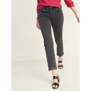 Mid-Rise Boyfriend Straight Black Jeans for Women