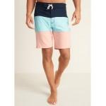 Color-Blocked Built-In Flex Board Shorts for Men  10-inch inseam
