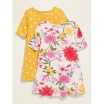 Printed Elbow-Sleeve Swing Dress 2-Pack for Toddler Girls