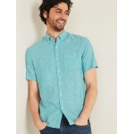 Relaxed-Fit Linen-Blend Short-Sleeve Shirt for Men