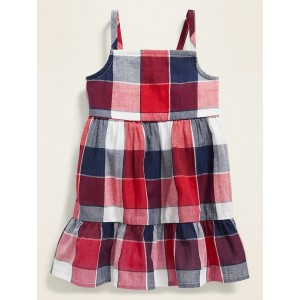 Sleeveless Tiered Plaid Cami Dress for Girls