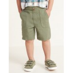Linen-Blend Functional Drawstring Shorts for Toddler Boys