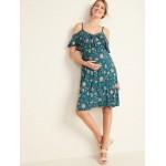 Maternity Waist-Defined Cold-Shoulder Jersey Dress