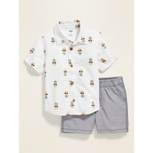 Printed Button-Front Shirt & Solid Shorts Set for Baby