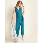 Maternity Sleeveless Tie-Belt Wide-Leg Jumpsuit