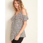 Maternity Ruffled Cold-Shoulder Blouse