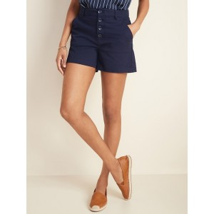 High-Waisted Button-Fly Herringbone Shorts for Women  4-inch inseam