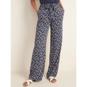 High-Waisted Tie-Belt Soft Pants for Women
