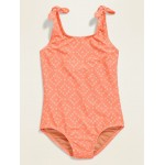 Printed Tie-Shoulder Swimsuit for Girls
