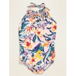 Printed Macrame-Trim Halter Swimsuit for Girls