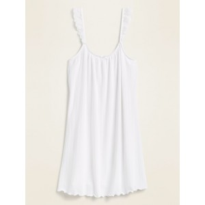 Pointelle-Knit Lace-Trim Cami Nightgown for Women