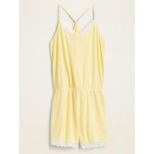 Pointelle-Knit Lace-Trim Pajama Romper for Women