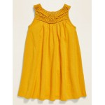 Sleeveless Braided-Yoke Swing Dress for Toddler Girls