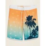 Printed Built-In Flex Dolphin-Hem Board Shorts for Men  10-inch inseam