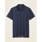 Luxe Dry-Quick Built-In Flex Pineapple-Print Short-Sleeve Polo for Men
