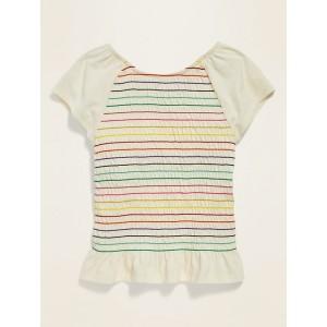 Smocked Flutter-Sleeve Top for Girls