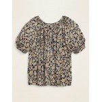 Printed Button-Front No-Peek Plus-Size Blouse