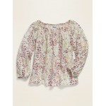 Square-Neck Floral Top for Girls