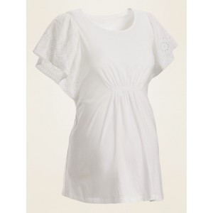 Maternity Eyelet Flutter-Sleeve Jersey Top