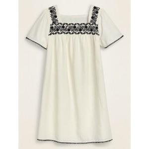 Embroidered-Yoke Square-Neck Linen-Blend Shift Dress for Women
