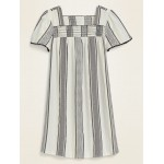 Square-Neck Textured Metallic Stripe Shift Dress for Women