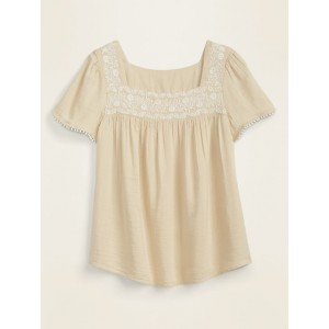 Embroidered-Yoke Square-Neck Top for Women