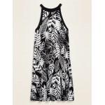 Printed Sleeveless Jersey Swing Dress for Women