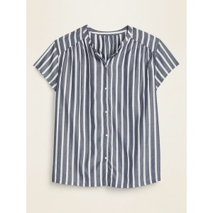 Striped Banded-Collar Shirt for Women