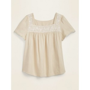 Embroidered-Yoke Square-Neck Plus-Size Top
