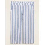 High-Waisted Striped Linen-Blend Plus-Size Culotte Pants