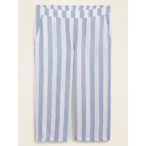 High-Waisted Striped Linen-Blend Plus-Size Culotte Pants