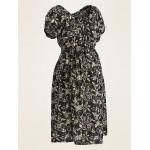 Maternity Floral-Print Waist-Defined Dress