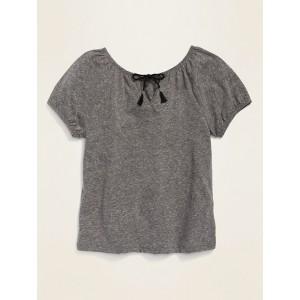 Tie-Neck Short-Sleeve Top for Girls